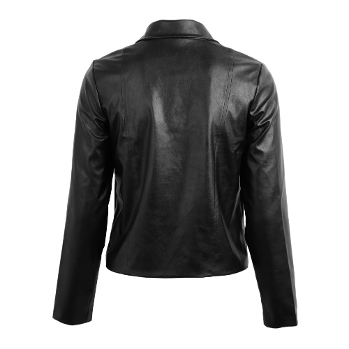 New Fashion Women PU Leather Jacket Side Zipper Rivet Turndown Collar Punk Outwear BlackApparel &amp; Jewelry<br>New Fashion Women PU Leather Jacket Side Zipper Rivet Turndown Collar Punk Outwear Black<br>