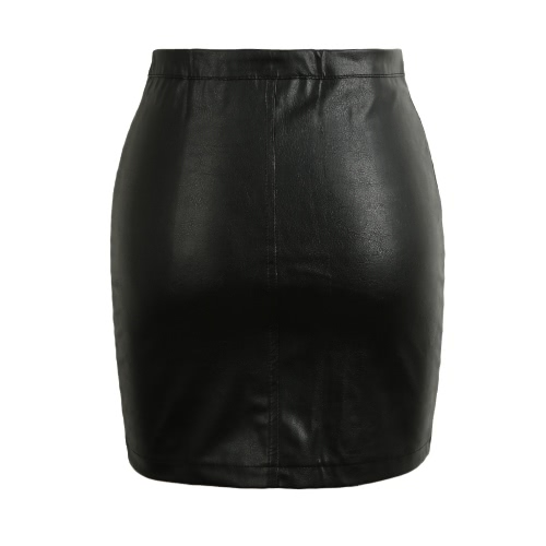 New Fashion Women PU Skirt Leather Zipper Bodycon Skirt Mid Rise Waist Solid Color Night Club Clubwear BlackApparel &amp; Jewelry<br>New Fashion Women PU Skirt Leather Zipper Bodycon Skirt Mid Rise Waist Solid Color Night Club Clubwear Black<br>