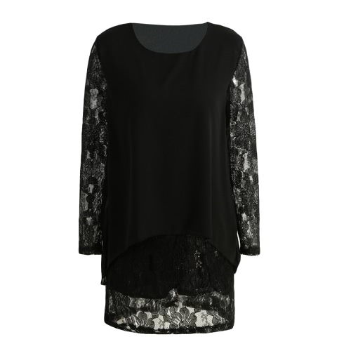 New Women Mini Plus Size Dress Chiffon Lace Irregular Long Sleeves Elegant Loose Party Layered Dress Black/BurgundyApparel &amp; Jewelry<br>New Women Mini Plus Size Dress Chiffon Lace Irregular Long Sleeves Elegant Loose Party Layered Dress Black/Burgundy<br>