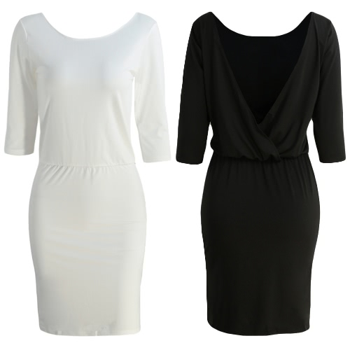 Sexy Women Midi Bodycon Dress Solid V-Shaped Backless Half Sleeves Elastic Wait Elegant Party Club Dress Black/WhiteApparel &amp; Jewelry<br>Sexy Women Midi Bodycon Dress Solid V-Shaped Backless Half Sleeves Elastic Wait Elegant Party Club Dress Black/White<br>