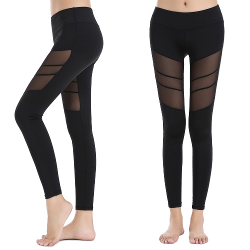 New Women Sport Yoga Leggings Solid Mesh Splice High Waist Fitness Gym Running Stretch Tights Long Pants Trousers Black