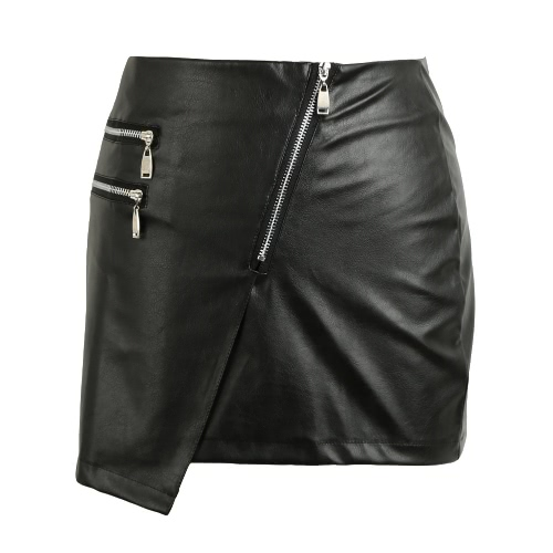 New Sexy Women PU Leather Skirt Front Zipper Split Solid Color Bodycon Short Mini Skirt Tight Skirt BlackApparel &amp; Jewelry<br>New Sexy Women PU Leather Skirt Front Zipper Split Solid Color Bodycon Short Mini Skirt Tight Skirt Black<br>