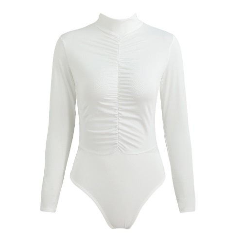 Sexy Women Bodycon Jumpsuit Solid Ruched Front Button Turtleneck Long Sleeves Casual Short Playsuit Rompers White/BlackApparel &amp; Jewelry<br>Sexy Women Bodycon Jumpsuit Solid Ruched Front Button Turtleneck Long Sleeves Casual Short Playsuit Rompers White/Black<br>