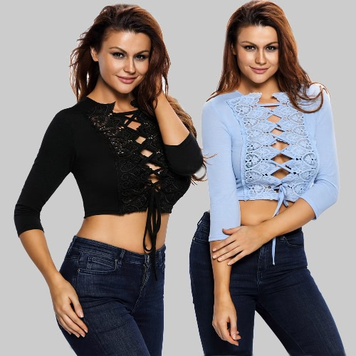 Sexy Lace Trim Women Crop Top Lace Up 3/4 Sleeves Strappy Hollow Out Clubwear Blue/BlackApparel &amp; Jewelry<br>Sexy Lace Trim Women Crop Top Lace Up 3/4 Sleeves Strappy Hollow Out Clubwear Blue/Black<br>