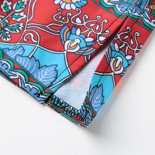 New Women Vintage Dress Boho Floral Print Tie Neck Half Sleeve Ethnic Loose Shift Mini Dress RedApparel &amp; Jewelry<br>New Women Vintage Dress Boho Floral Print Tie Neck Half Sleeve Ethnic Loose Shift Mini Dress Red<br>