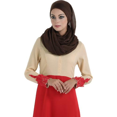 Fashion Women Spliced Muslim Dress Long Sleeve Embroidered Flower Islamic Abaya Dubai Caftan Dress Maxi RobeApparel &amp; Jewelry<br>Fashion Women Spliced Muslim Dress Long Sleeve Embroidered Flower Islamic Abaya Dubai Caftan Dress Maxi Robe<br>