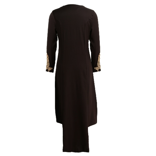 New Fashion Women Muslim Dress Spliced Color Block Crochet Lace Zipper Long Sleeve Arab Maxi One-PieceApparel &amp; Jewelry<br>New Fashion Women Muslim Dress Spliced Color Block Crochet Lace Zipper Long Sleeve Arab Maxi One-Piece<br>