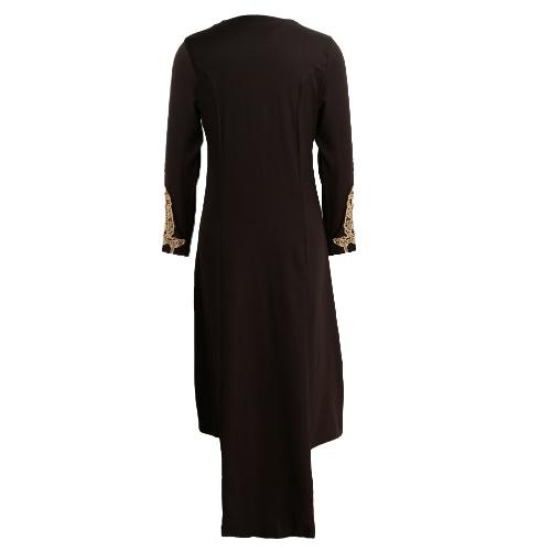 New Fashion Women Muslim Dress Spliced Color Block Crochet Lace Zipper Long Sleeve Arab Maxi One-Piece