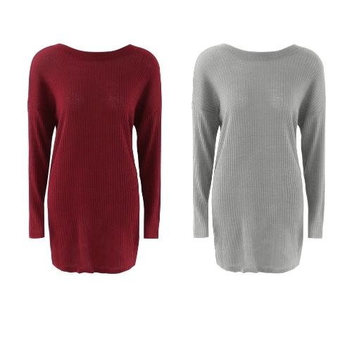 New Fashion Women Knitted Dress Solid Color Round Neck Long Sleeve Mini Dress Grey/RedApparel &amp; Jewelry<br>New Fashion Women Knitted Dress Solid Color Round Neck Long Sleeve Mini Dress Grey/Red<br>