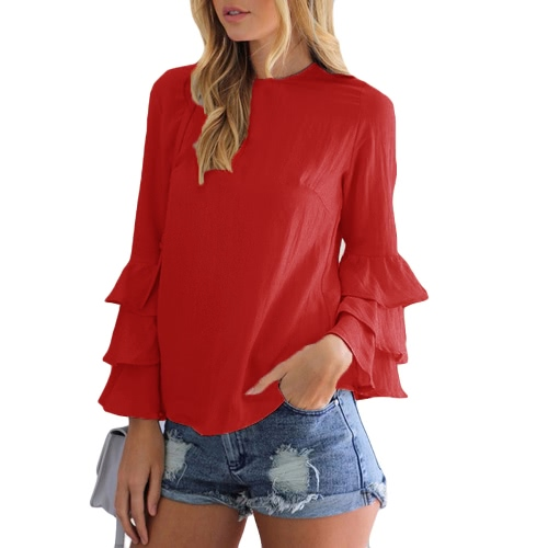 New Fashion Women Flared Long Sleeve Blouse O Neck Keyhole Back Solid Lady Casual Blouse Top Light BlueApparel &amp; Jewelry<br>New Fashion Women Flared Long Sleeve Blouse O Neck Keyhole Back Solid Lady Casual Blouse Top Light Blue<br>