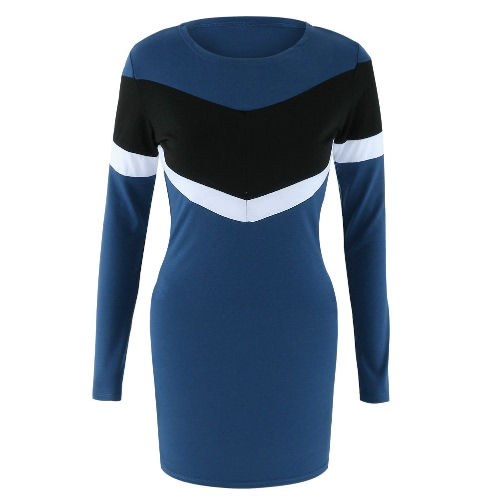 Sexy Women Mini Dress Bodycon Contrast Color Splice O-Neck Long Sleeves Casual Party Pencil Dress Dark BlueApparel &amp; Jewelry<br>Sexy Women Mini Dress Bodycon Contrast Color Splice O-Neck Long Sleeves Casual Party Pencil Dress Dark Blue<br>