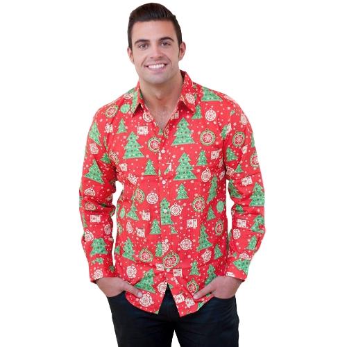 新しい秋の男のクリスマスプリントシャツホリデー漫画のロングスリーブドレスシャツカジュアルな男性のトップ