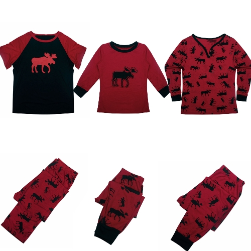 Men Christmas Family Look Pajama Reindeer Family Matching Outfit Father Mother Kid Sleepwear Nightwear T-Shirt Pants Set Red