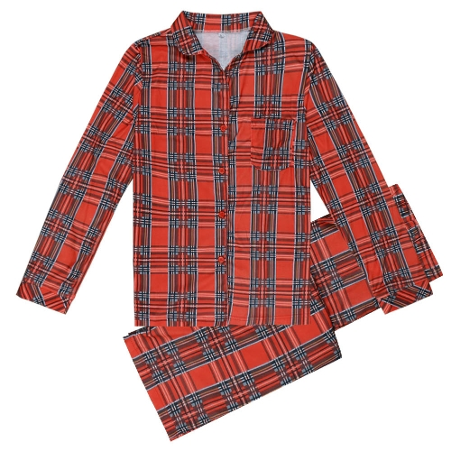 Family Dad Men Two-Piece Set Plaid Pajama Sleepwear Long Sleeves Button Casual House Wear Top Pants