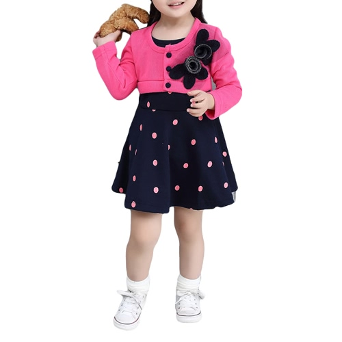 New Sweet Baby Kids Girl Dress Floral Embroidery Button Front Dot Print Splice Long Sleeve Cute Princess Dress Watermelon Red/RoseApparel &amp; Jewelry<br>New Sweet Baby Kids Girl Dress Floral Embroidery Button Front Dot Print Splice Long Sleeve Cute Princess Dress Watermelon Red/Rose<br>