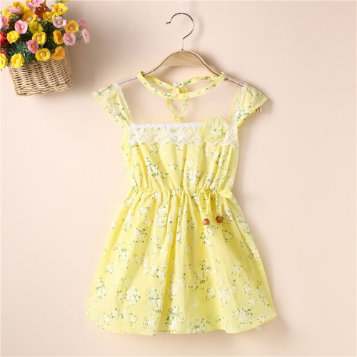 New Cute Girls Dress Floral Print Mesh Insert Elastic Waist Bow Beading Sleeveless Sweet One-Piece Pink/Yellow /GreenApparel &amp; Jewelry<br>New Cute Girls Dress Floral Print Mesh Insert Elastic Waist Bow Beading Sleeveless Sweet One-Piece Pink/Yellow /Green<br>