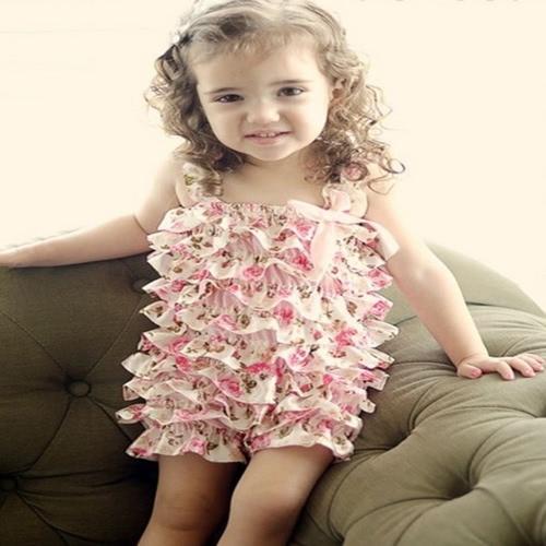 Vestiti del pagliaccetto del partito di compleanno di modo delle ragazze del pagliaccetto dei pettini dell'increspatura del merletto del bambino di estate