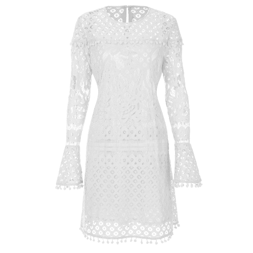 New Elegant Women Sheer Lace Dress Pom Pom Trims O Neck Long Sleeve Lined Party Mini Dress PinkApparel &amp; Jewelry<br>New Elegant Women Sheer Lace Dress Pom Pom Trims O Neck Long Sleeve Lined Party Mini Dress Pink<br>
