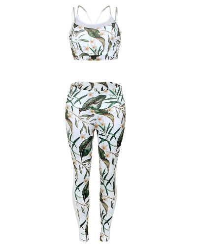 Fashion Women Gym Fitness Top Leggings Suit Floral Leaf Print Mesh Running Sports Yoga Workout Tracksuit GreenApparel &amp; Jewelry<br>Fashion Women Gym Fitness Top Leggings Suit Floral Leaf Print Mesh Running Sports Yoga Workout Tracksuit Green<br>