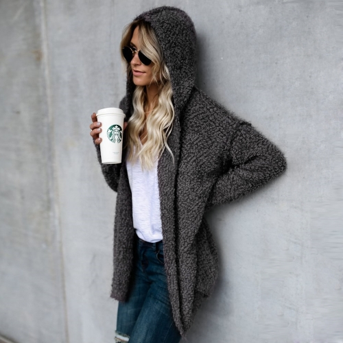 Fashion Women Fleece Hooded Cardigan Open Front Long Sleeve Solid Warm Hoodie Outerwear Loose Sweater CoatApparel &amp; Jewelry<br>Fashion Women Fleece Hooded Cardigan Open Front Long Sleeve Solid Warm Hoodie Outerwear Loose Sweater Coat<br>