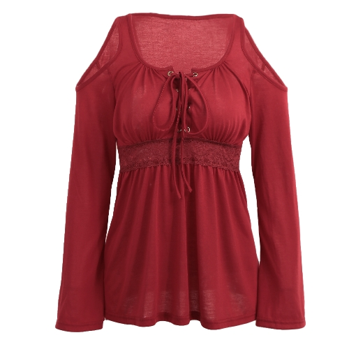 Fashion Women Blouse Cold Shoulder Lace-Up V Neck Long Sleeve Solid Color Casual Shirt T-Shirt Tops Blue/Burgundy/BlackApparel &amp; Jewelry<br>Fashion Women Blouse Cold Shoulder Lace-Up V Neck Long Sleeve Solid Color Casual Shirt T-Shirt Tops Blue/Burgundy/Black<br>