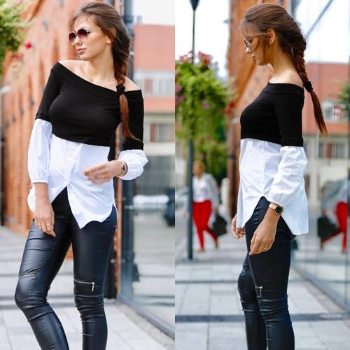 Sexy Off Shoulder Mujeres blusa de blusa de color mangas de la linterna Dobladillo irregular elegante Top mujeres camiseta