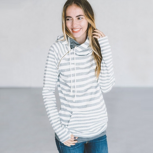 New Fashion Women Hoodie Sweatshirts Stripe Self-tie Pockets Pullover Hooded Loose Tops GreyApparel &amp; Jewelry<br>New Fashion Women Hoodie Sweatshirts Stripe Self-tie Pockets Pullover Hooded Loose Tops Grey<br>