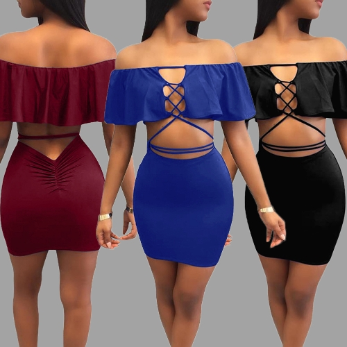 Sexy Women Cut Out Off Shoulder Crop Top Set Lace Up Ruffles Mini Skirt Bodycon Casual Bandage Dress Night ClubApparel &amp; Jewelry<br>Sexy Women Cut Out Off Shoulder Crop Top Set Lace Up Ruffles Mini Skirt Bodycon Casual Bandage Dress Night Club<br>
