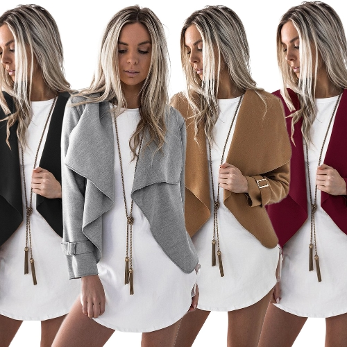 Women Short Coat Cardigan Turn-down Collar Open Front Long Sleeves Jacket Outwear Casual Overcoats AutumnApparel &amp; Jewelry<br>Women Short Coat Cardigan Turn-down Collar Open Front Long Sleeves Jacket Outwear Casual Overcoats Autumn<br>