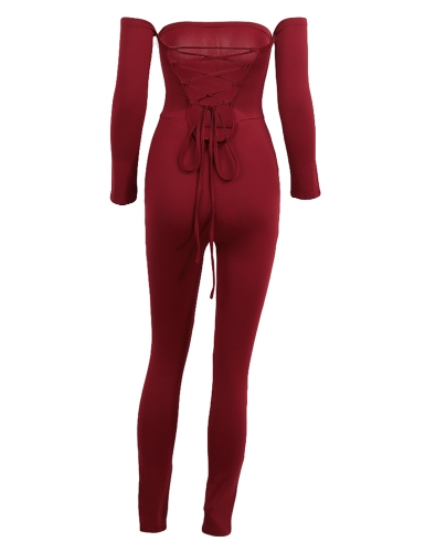 Sexy Women Off Shoulder Jumpsuit Backless Bandage Long Sleeve Rompers Bodycon Playsuit Bodysuit Catsuit Blue/Burgundy/BlackApparel &amp; Jewelry<br>Sexy Women Off Shoulder Jumpsuit Backless Bandage Long Sleeve Rompers Bodycon Playsuit Bodysuit Catsuit Blue/Burgundy/Black<br>