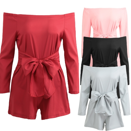 Sexy Women Off Shoulder Jumpsuit Solid Color Long Sleeve Bandage Casual Slim Short Playsuit RompersApparel &amp; Jewelry<br>Sexy Women Off Shoulder Jumpsuit Solid Color Long Sleeve Bandage Casual Slim Short Playsuit Rompers<br>