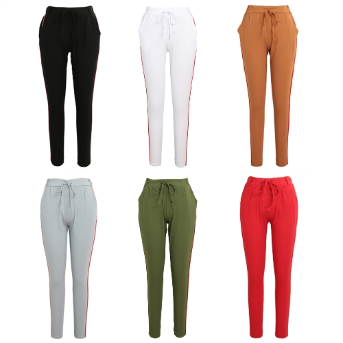 Fashion Women Side Striped Pants Trousers Casual High Elastic Waist Drawstring Slim Pencil PantsApparel &amp; Jewelry<br>Fashion Women Side Striped Pants Trousers Casual High Elastic Waist Drawstring Slim Pencil Pants<br>