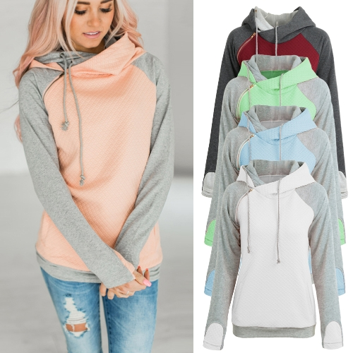 Fashion Women Hoodie Sweatshirts Contrast Color Long Sleeve Drawstring Casual Warm Pullover Hooded TopsApparel &amp; Jewelry<br>Fashion Women Hoodie Sweatshirts Contrast Color Long Sleeve Drawstring Casual Warm Pullover Hooded Tops<br>