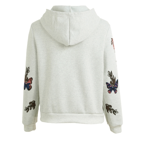 New Fashion Women Hoodie Sweatshirts Butterfly Floral Print Long Sleeve Pullover Hooded Loose TopsApparel &amp; Jewelry<br>New Fashion Women Hoodie Sweatshirts Butterfly Floral Print Long Sleeve Pullover Hooded Loose Tops<br>