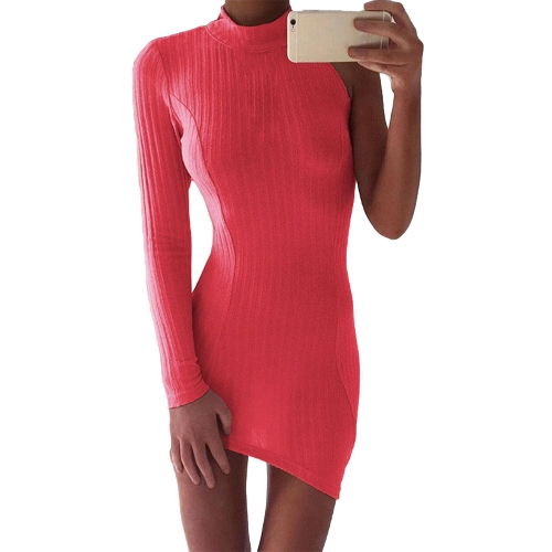 Sexy Women Pencil Dress Solid Ribbed One Sleeve Asymmetric Turtle Neck Bandage Bodycon Mini ClubwearApparel &amp; Jewelry<br>Sexy Women Pencil Dress Solid Ribbed One Sleeve Asymmetric Turtle Neck Bandage Bodycon Mini Clubwear<br>
