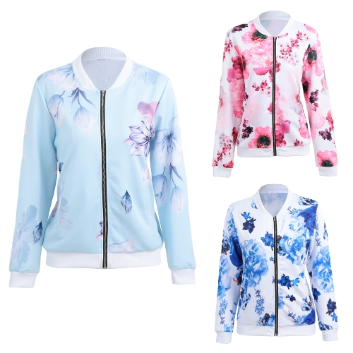 Autumn Winter Women Floral Print Basic Coats Long Sleeve Zipper Bomber Jacket Casual Top StreetwearApparel &amp; Jewelry<br>Autumn Winter Women Floral Print Basic Coats Long Sleeve Zipper Bomber Jacket Casual Top Streetwear<br>