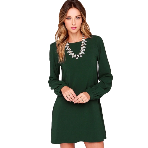Women Chiffon Dress Long Sleeve Solid Shift Dress O-Neck Mini Dress Black/Burgundy/GreenApparel &amp; Jewelry<br>Women Chiffon Dress Long Sleeve Solid Shift Dress O-Neck Mini Dress Black/Burgundy/Green<br>