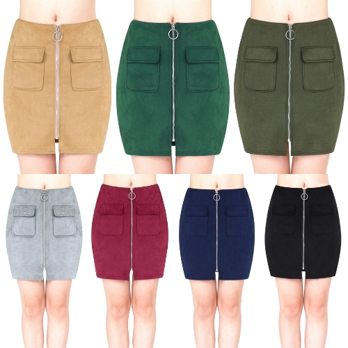 Fashion Women Mini Suede Skirts Pocketed Zippered Front Party Short Sheath Suedtte SkirtApparel &amp; Jewelry<br>Fashion Women Mini Suede Skirts Pocketed Zippered Front Party Short Sheath Suedtte Skirt<br>