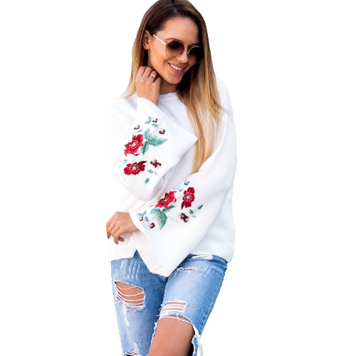 Autumn Winter Women Knitted Sweater Floral Embroidery Pullover Jumper Flare Long Sleeve Casual Loose TopsApparel &amp; Jewelry<br>Autumn Winter Women Knitted Sweater Floral Embroidery Pullover Jumper Flare Long Sleeve Casual Loose Tops<br>