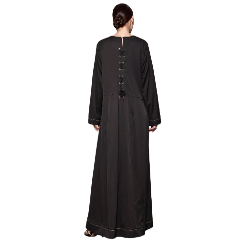 Women Muslim Maxi Dress Lace Up Long Sleeve Abaya Kaftan Islamic Arab Robe Long Dress BlackApparel &amp; Jewelry<br>Women Muslim Maxi Dress Lace Up Long Sleeve Abaya Kaftan Islamic Arab Robe Long Dress Black<br>