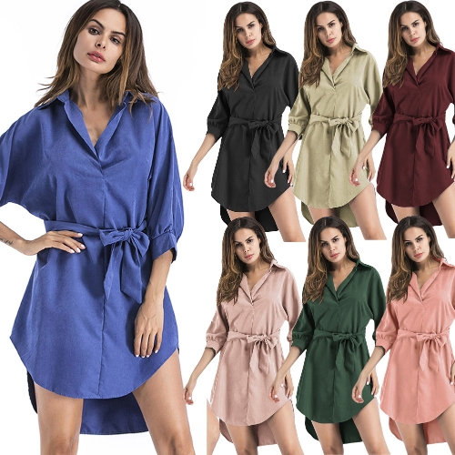 Sexy Women Dress Solid Bat Sleeves With Belt Irregular Hem Elegant Party Mini OL DressesApparel &amp; Jewelry<br>Sexy Women Dress Solid Bat Sleeves With Belt Irregular Hem Elegant Party Mini OL Dresses<br>