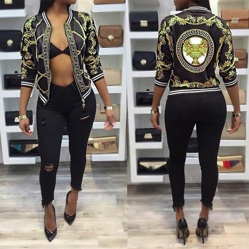 New Fashion Women Down Jacket Print O-Neck Zipper Long Sleeve Coat Outerwear Black/YellowApparel &amp; Jewelry<br>New Fashion Women Down Jacket Print O-Neck Zipper Long Sleeve Coat Outerwear Black/Yellow<br>