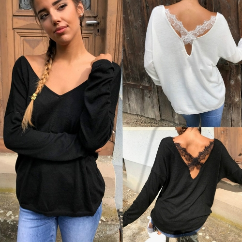 Women Sexy Backless T-Shirt V Neck Long Sleeve Eyelash Lace Splice Casual Top Tee White/BlackApparel &amp; Jewelry<br>Women Sexy Backless T-Shirt V Neck Long Sleeve Eyelash Lace Splice Casual Top Tee White/Black<br>