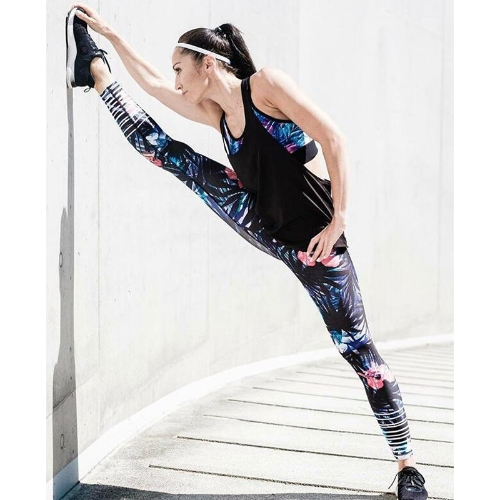 New Women Sport Yoga Leggings Floral Print Striped Stretch Fitness Gym Running Bodycon Pants BlackApparel &amp; Jewelry<br>New Women Sport Yoga Leggings Floral Print Striped Stretch Fitness Gym Running Bodycon Pants Black<br>