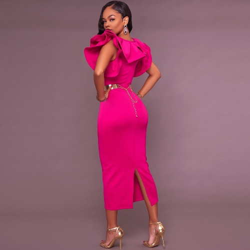 Fashion Women Ruffle Neck Slit Hem Midi Dress Solid Color Sleeveless Party Cocktail Slim Bodycon Dress Black/RoseApparel &amp; Jewelry<br>Fashion Women Ruffle Neck Slit Hem Midi Dress Solid Color Sleeveless Party Cocktail Slim Bodycon Dress Black/Rose<br>