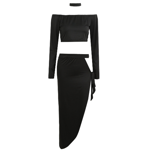 Sexy Women Off Shoulder Two Piece Set Long Sleeve Tie Side Slit Asymmetric Party Club Dress Crop Top + Skirt with ChokerApparel &amp; Jewelry<br>Sexy Women Off Shoulder Two Piece Set Long Sleeve Tie Side Slit Asymmetric Party Club Dress Crop Top + Skirt with Choker<br>