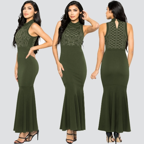 Women Mermaid Gown Dress Rhinestones Bodycon Turtleneck Sleeveless Cocktail Evening Party Ball Long DressApparel &amp; Jewelry<br>Women Mermaid Gown Dress Rhinestones Bodycon Turtleneck Sleeveless Cocktail Evening Party Ball Long Dress<br>