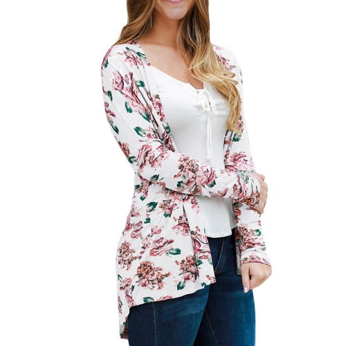 Fashion Women Cardigan Floral Print Long Sleeve All-match Casual Slim Thin Outwear Kimono Black/Grey/WhiteApparel &amp; Jewelry<br>Fashion Women Cardigan Floral Print Long Sleeve All-match Casual Slim Thin Outwear Kimono Black/Grey/White<br>