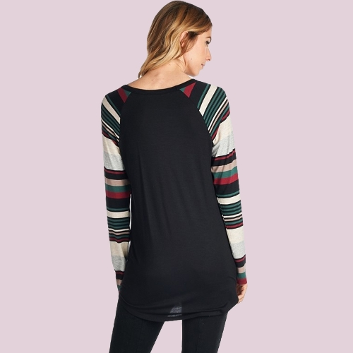 Autumn Winter Women Christmas Snow Letter Print T-Shirt Color Block O Neck Striped Long Sleeve Pullover Tees TopsApparel &amp; Jewelry<br>Autumn Winter Women Christmas Snow Letter Print T-Shirt Color Block O Neck Striped Long Sleeve Pullover Tees Tops<br>