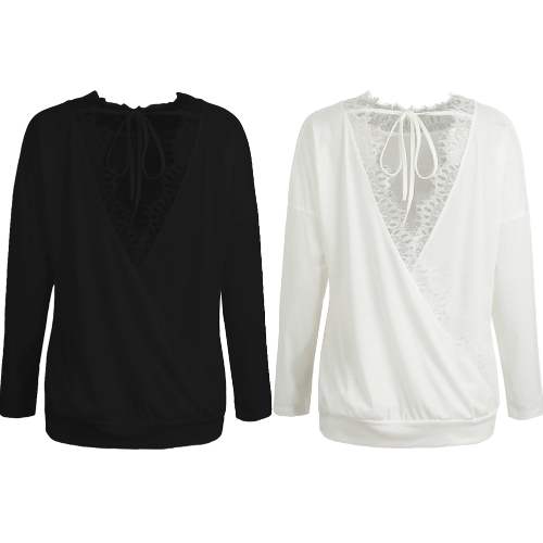 Sexy Women Lace Blouse Backless Long Sleeve Bandage Open Back Casual Loose Solid T-Shirt Tops Black/WhiteApparel &amp; Jewelry<br>Sexy Women Lace Blouse Backless Long Sleeve Bandage Open Back Casual Loose Solid T-Shirt Tops Black/White<br>